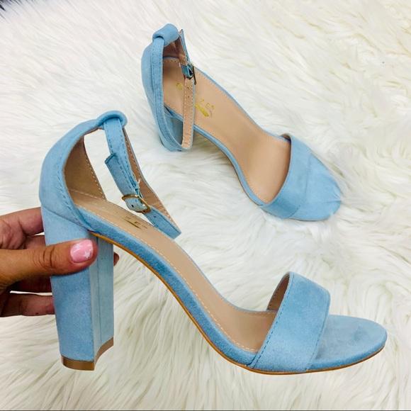 Shoes   Dusty Blue Suede Heel   Poshmark